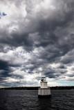Sydney Harbour marker with clouds - portrait