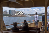 Manly ferry with Sydney Opera House through window