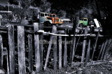 Hill End fence with old trucks - selective color