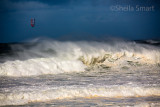 Kite surfer at Newport Beach during storm