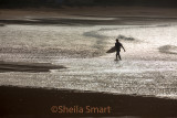 Surfer leaving surf at Palm Beach