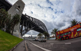 Sydney Harbour Bridge and red double decker bus