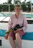 Julie on the catamaran going snorkling
