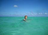 Julie swimming in the ocean