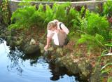Julie feeding the turtles