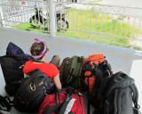 Morgan keeping an eye on luggage