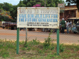 Foster Parrot sign at Lethem airport