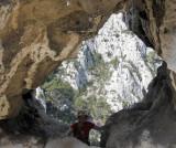 Calanques climbing through an arch