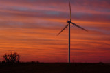 Sunrise Near Windfarm
