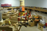 Continuing around the curve with road bed glue-up