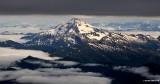 Glacier and shrouded peaks