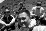 hiking up volcano