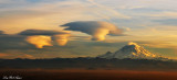 Rare triple standing lenticular formation over Mt Rainier