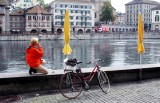 short break along Limmat River Zurich