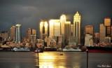 Golden downtown Seattle