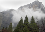 Cloud partially hides Upper Yosemite Falls. Day 2, S95, #3681