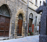 Volterra street from viewpoint of door horse