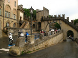 Mopeds parked outside the old town walls