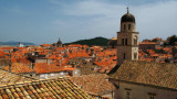 Old town roofline with monastery belfry
