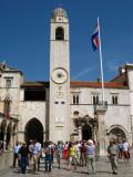 Clock tower and Orlando Column on Luža