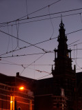 Noctural scene wrapped in telephone wires
