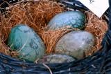Raku burned ceramic eggs