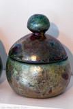 Raku burned ceramic pot