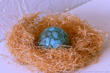Raku-burned ceramic egg