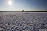 Ice skating on a Dutch frozen lake