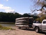Stacks of canoes