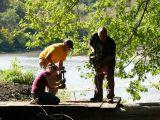 Portage trail bridge and hard working volunteers