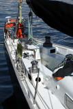 Photo de Pen Duick III à quai pendant le rassemblement Brest 2008