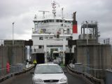 Cars leaving the ferry
