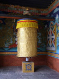 Prayer wheel at entrance to Punakha Dzong