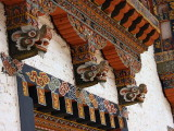 Beam end wood carvings, Punakha Dzong