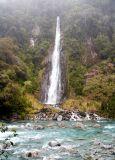 Waterfall in pouring rain