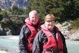Mike and Jan going jetboating on the Shotover