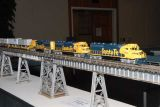 John Kennedy built this ATSF Aroyo Seco Bridge with new Athearn models displayed on it
