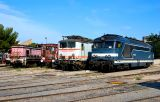 From the left to the right, the BB64050, BB8120 (preserved), BB67551 at Miramas depot.