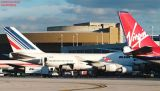 Virgin Atlantic B747-443 G-VGAL, Air France B747 and Martinair B767 airliner aviation stock photo #2768