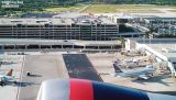 FLL's ramp and Hibiscus parking garage from Delta B767-432 N836MH airline airport stock photo