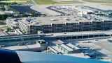 FLL's Hibiscus parking garage from Delta B767-432 N836MH airline airport stock photo