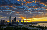 Sunrise over the city of Perth