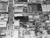 1950's - aerial view of fire damaged warehouse in downtown Miami