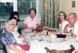 1973 - Clarice Gram Arnold, Beatrice Gift, Irene Anthonsen, Norma Boyd, J. Boyd and my dad John M. Boyd at Christmas dinner
