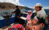 Crossing Titicaca Lake in Strait of Tiquina