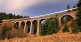 Night train passed by on Chramossky viaduct near Telgart