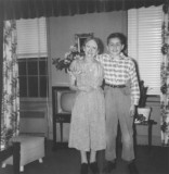 Grandma Gussie (father's side) and Richard - in her apartment in the Bronx (1954)
