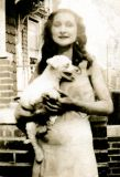 Hilda (Richard's mother) with a dog named Pinkie (early 1930s)