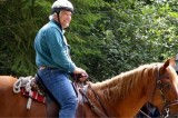 Mark Mauren getting to know a four-legged volunteer
